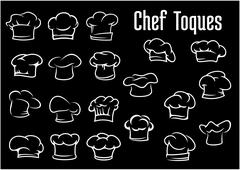 Chef and cook hats, caps or toques Stock Illustration