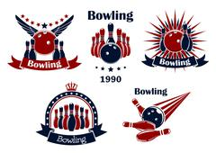 Stock Illustration of Bowling game emblems with strike