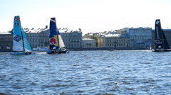 Catamaran racing of Extreme Sailing Series in St. Petersburg, Russia Stock Footage