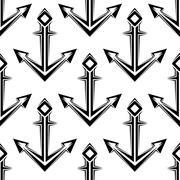 Stylized nautical anchors seamless pattern - stock illustration