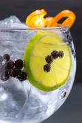 Stock Photo of Gin tonic cocktail macro closeup with juniper berries