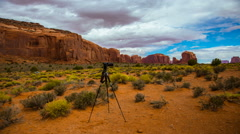 Camera and Tripod TImelapse Over Monument Valley - stock footage
