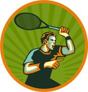 Tennis Player Racquet Circle Retro Stock Illustration