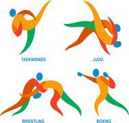 Judo Taekwondo Boxing Wrestiling Icon Stock Illustration