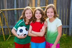 three sister girls friends soccer football winner players - stock photo