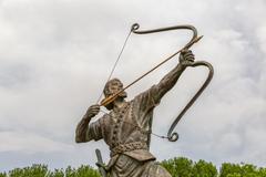 Aresh the Archer tightens arrow Stock Photos