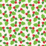 Seamless pattern of holly berry sprig.   illustration Stock Illustration