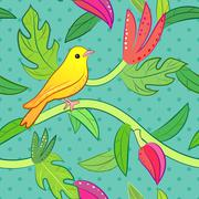 Stock Illustration of Nature seamless pattern with bird and leaf