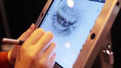 Drawing On Ipad Tablet Station Stock Footage