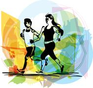 Stock Illustration of young fitness couple of man and woman jogging in park