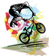 Stock Illustration of bicycle rider on abstract background