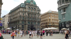 Crowds Of People at Stephansplatz, Vienna Stock Footage