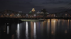 Stock Video Footage of Louisville Bridge Ohio River Awesome Lighting and Reflections HDR