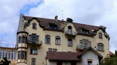 Clouds floating over Baden-Baden at summer  cloudy day. Time lapse Stock Footage