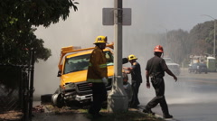 LAFD Firefighters Rescue Accident Victim Stock Footage