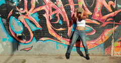 Young Latina Hispanic woman in New York City dancing - stock footage