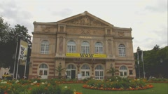 Theater in Baden-Baden at the dusk time Stock Footage