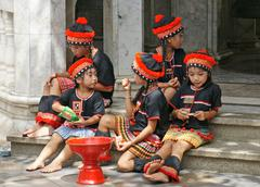 Stock Photo of Unidentified hill tribe kids  relax from dance show