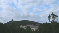 Clouds float over the Black Forest and Baden-Baden in the twilight. Time lapse - stock footage