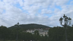 Clouds float over the Black Forest and Baden-Baden in the twilight. Time lapse Stock Footage