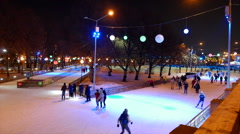 Open ice rink in Gorky Park. Moscow. Stock Footage