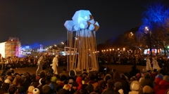 Shrovetide (Maslenitsa) in Gorky Park in Moscow. Stock Footage