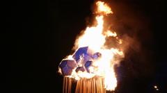 Burning Winter effigy at Shrovetide holiday. Stock Footage