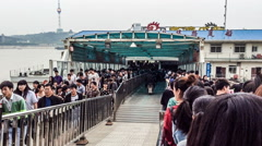 Passengers waiting to board the ship in Wuhan, China Stock Footage