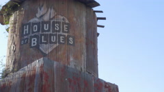 ECU House of Blues on Sunset Strip Water Tower Stock Footage