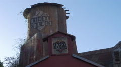 CU House of Blues on Sunset Strip Water Tower Stock Footage