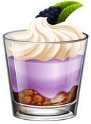Rasberry dessert in glass - stock illustration