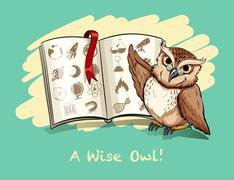 Idiom a wise owl Stock Illustration