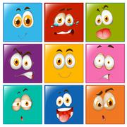 Facial expression on square buttons - stock illustration