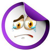 Crying face on purple sticker - stock illustration