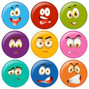 Facial expression on round badges Stock Illustration