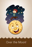 Idiom over the moon Stock Illustration