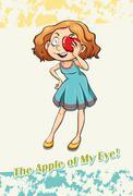 Idiom apple of my eye - stock illustration