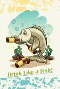 Idiom drink like a fish Stock Illustration