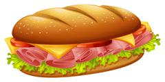 Hamburger with ham and cheese - stock illustration