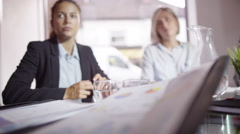 4k Group of Confident businesswomen in negotiation meeting - stock footage