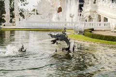 White temple, Chiang Rai, Thailand - stock photo