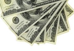 Cash. 100 Dollars US. Isolated Stock Photos