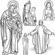 Virgin Mary Set - stock illustration
