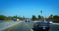 4K. Commuter traffic on Freeway 5 South in Los Angeles, California. Stock Footage