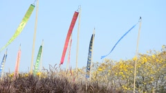 Wind with Prayer flags or Tung Flag of Lanna at northern of Thailand Stock Footage