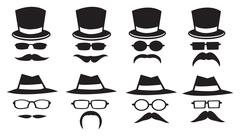 Hats and Moustaches vector icon set - stock illustration