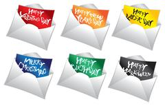 Mailers holiday messages Vector Icon Set Stock Illustration