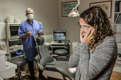 Fear of dentists Stock Photos
