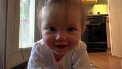 Cute crawling baby girl coming for you. Stock Footage