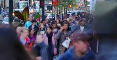 Crowd of people walking in midtown Manhattan, NYC. 4K UHD Timelapse Stock Footage